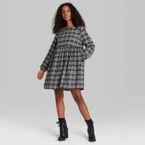 Wild Fable Grey Plaid Plaid Babydoll Dress